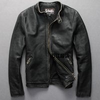 Schotts Vintage Man motorcycle leather jacket Cowhide genuine leather men's Slim short coats stand collar plus 6XL