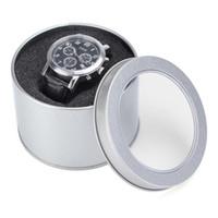 """أدنى سعر الفضة جولة معدن مجوهرات ووتش هدية مربع عرض القضية مع وسادة 3.54x2.36 """"ووتش المنظم صندوق حامل glitter2008"""