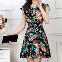 الصيف تنورة حجم كبير فستان قصير الأكمام النساء الأزهار طباعة فساتين ألف خط عارضة l xl 2xl 3xl 4xl 2017 موضة جديدة