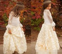 Pretty Ivory Lace Flower Girls 'Dresses Jewel Neck Beads Long Sleeves 2017 Floor-Length Hand Made Flowers Bow Kids Formal Gowns Custom