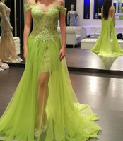 Green Sweetheart Neck A Line Long Evening Dresses Appliques ...