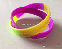 Cheap Purple Green Yellow Section Color Wristband Logo Embos...