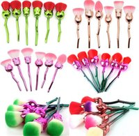 60set 3D Rose Flower Makeup Brushes Set 6pcs=1set Foundation...