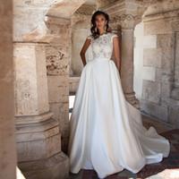 Sexy Backless Lace Brautkleid CSP Hülse Spitze Top Vestido de Novia Plus Size Princess Brautkleider Sweep Zug Robe de Mariage 2019