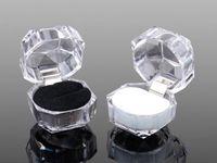 Epackfree 20 unids 3 colores anillos caja de la joyería caja de regalo de bodas caja de regalo de boda cajas de joyas de acrílico transparente