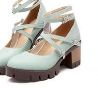 Женские туфли на высоком каблуке Han edition foot ring cross zone на высоком каблуке-это восстановление древних путей принцесса толстая нижняя грубая документальная обувь