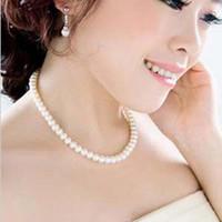 43 см тонкий ювелирные изделия ключицы цепи шокер имитация 8 мм жемчужное ожерелье свадебные ювелирные изделия женские ожерелье женский Белый свадебные подарки