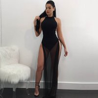 Women Sexy Mesh Long Dress Black Sleeveless Hollow Out Split...