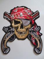12.6 inç Korsan Kafatası Çift Guns tek Eye üzerinde Ceket Geri Yelek Motosiklet Kulübü Biker MC Sew için büyük Nakış Yamalar