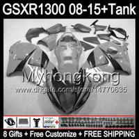 gris brillante 8gifts para SUZUKI Hayabusa GSXR1300 08 15 GSXR-1300 14MY13 GSXR 1300 GSX R1300 08 09 10 11 12 13 14 15 Carenado TOP gris negro Kit