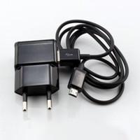 Großhandel Ladegerät USB Data Sync Micro Kabel + 2A US / EU Stecker Ladegerät Adapter Home Power Adapter für Smartphone Note2 N7100 S4 i9500 / S3