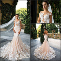 Milla Nova 2019 Mermaid Wedding Dresses Cap Sleeve Sheer Jew...