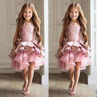Luxury Lace Pink Lace Girls Pageant Dresses 2017 Appliques R...