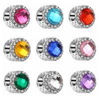 2017 diamantes de la plata del cristal plateado de los granos DIY Craft Grandes granos de plata para la joyería pulseras de moda 9 colores Europea Cuentas XZ-124 libera la nave