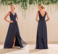 2017 Cheap A Line Chiffon Bridesmaid Dresses V Neck Ruched L...
