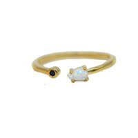 US size 6- 8 yellow gold plated black 2mm cz thin band tiny c...