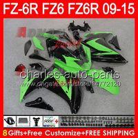 gloss green 8gifts For YAMAHA FZ6R 09 10 11 12 13 14 15 FZ6N FZ6 89NO7 FZ-6R FZ 6R 2009 2010 2011 2012 2013 2014 2015 green white Fairing