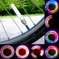 2pcs 5 LED 자전거 자전거 타이어 밸브 캡 네온 라이트 램프 액세서리 스포크 도매 드롭 배송