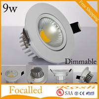 Mais novo Dimmable LED Downlights 9 W COB LED luz de teto embutido luz ponto 120 Ângulo AC 85-265V + diodo emissor de LED CE ROHS UL SAA