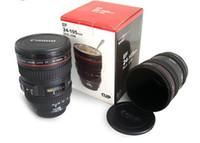 Kaffee Kamera Objektiv Becher Tasse Edelstahl Travel Cup Thermo Kaffee Kamera mit Haube Deckel 420ml Schwarz DHL frei