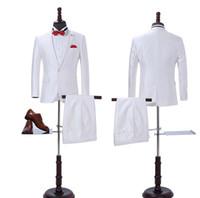 새로운 도착 사용자 정의 만든 흰색 정장 한 버튼 비즈니스 재킷 웨딩 정장 들러리 정장 (재킷 + 바지)
