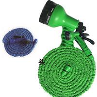 3-mal ausdehnbarer Schlauch 25FT 50FT 75FTGARDEN RAWN Terrasse Gießausrüstung Gun Flexibler Schlauch Wasser Gartenrohr mit 7 Arten Spray WX-P05