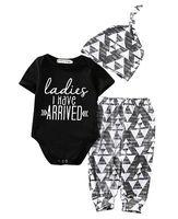 Großhandel - Herbst Neue Baby Jungen Kleidung Neugeborenes Baby Mädchen Junge Baumwolle Strampler + Hosen + Hut Outfits Kleinkind Kleidung Set