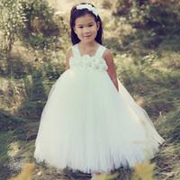 Dulce blanco princesa Tutu vestidos de niña de las flores espaguetis longitud del piso Niñas 2017 vestidos del desfile barato tul 4T 6T niña de las flores niño pequeño vestido
