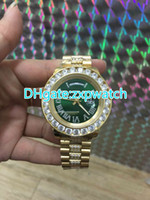 Luxury Brand 18K Gold Day- Date watch Men Big Diamond Bezel A...