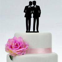 Vente en gros-Glitter acrylique or / argent GAY hommes Couple gâteau Topper gâteau de mariage Topper gâteau Toppers Party décoration fournitures