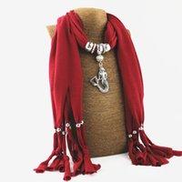 Gland polyester écharpe pendentif écharpe en alliage écharpe collier collier écharpes pour les femmes