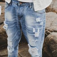 패션 남성 슬림핏 청바지 스트리트 남성 고민 데님 조깅 무릎 구멍 씻어 파괴 청바지 플러스 사이즈 MNZK01 RF 찢어진