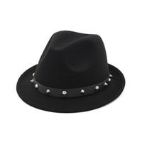 영국 스타일 남여 양모 잼 재즈 모자를 느꼈다 패션 페도라 모자 리벳 남성 여성 가을 겨울 모자 남성 여성 신사 모자