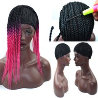 Tappi parrucca intrecciata nera per fare parrucche Cornrows Cap parrucche all'uncinetto Small Medium Large Glueless Dome Hairnet Liner Maglia elastica per donne nere