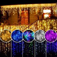 Perde Icicle Led Strings ışık Noel Işıkları 3.5 m Sarkma 0.4-0.6 m Açık Dekorasyon 220 V 110 V led tatil işık Yeni Yıl Bahçe