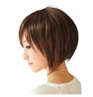 Kadın Kızlar Için kısa Bob Düz Peruk Natrual Siyah Açık Kahverengi Koyu Kahverengi 35 Cm Sentetik Saç Peruk