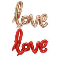 100pcs / lot, legature Love Foil Balloons Palloncino foglio di alluminio Elio Ballons Matrimonio San Valentino Decorazione del partito