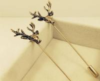 Vintage tête de cerf broches broches pour hommes animal longue aiguille corsages pour noce cadeaux d'anniversaire de mariage or deux couleurs
