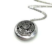 Ekskluzywny projekt Antique Silver Celtics Knotki Krzyż Wisiorek Medalion Aromaterapia Essential Oil Dyfuzor Medalion Naszyjnik Christmas Gift