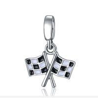 20 unids / lote moda plateado esmalte negro blanco banderas diseño del corazón de la aleación de metal diy encanto encajan brazalete europeo neckline precio bajo pd150