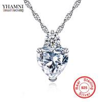 YHAMNI Herz Anhänger Halskette 925 Sterling Silber Frauen Halsketten Hochzeit Diamant Kristall Collares Colar Jewerly XN29