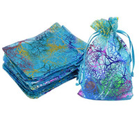 Wholesale-100pcs المرجانية نمط الأزرق الأورجانزا كيس التغليف المجوهرات الصابون حفل زفاف لصالح حلوى عيد الميلاد هدية الحقيبة حار بيع