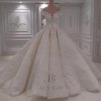 로브 드 MARIAGE 새로운 우아한 긴 웨딩 드레스 2021 V - 목 캡 슬리브 볼 가운 채플 기차 구슬 얇은 명주 그물 웨딩 드레스