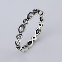 Großhandel neue europäische Retro Diamant 925 Silber Unterschrift Pave runder Ring für Pandora Zirkonia Jahrestag Schmuck für Frauen rins