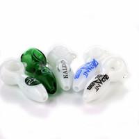 ucuz El Cam Boruları 2 adet / grup mix renk cam sigara borular mavi yeşil ve beyaz ile farklı logo kaşık boru