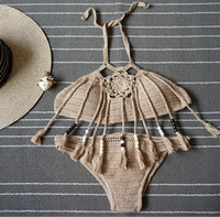 New Summer Bohemian Womens Halter Weave Crochet Swimsuit Tan...