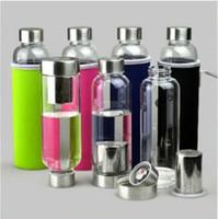 Garrafa de 550ml de água de vidro BPA resistente à alta temperatura Garrafa de água Vidro Com 60pcs Filtro Tea Infuser E Nylon luva CA6739-1