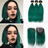 Dark Roots 1B Green Human Hair Bundles 3pcs con cierre de encaje Ombre Color Dark Green Straight Hair teje con parte superior libre de cierre