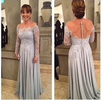 Elegante Dusty Blue Madre della sposa Abiti Sheer Scoop Neckline in rilievo di pizzo Backless Plus Size Madre dello sposo Abiti da sposa