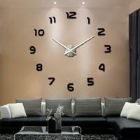 Venda quente 3D DIY Relógio de Parede Design Moderno Saat Reloj De Pared Metal Art Relógio Sala Relógio Espelho Acrílico Horloge Murale